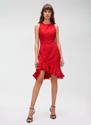People By Fabrika Volanlı Dantel Detaylı Elbise Kırmızı